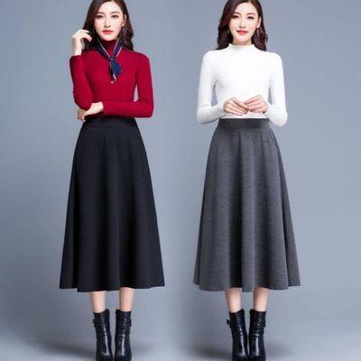 材质:其他;尺码:S M L XL 2XL 3XL;面料:毛呢;图案:纯色;腰型:高腰;货号:6721L12943;成分含量:95%以上;裙型:A字裙;年份季节:2019年秋季;裙长:长裙;流行元素\/工艺:口袋;材质成分:其他100.00%;r6