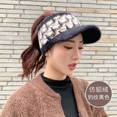加绒护耳运动帽防风保暖毛线帽子女冬季韩版学生骑车空顶帽鸭舌帽