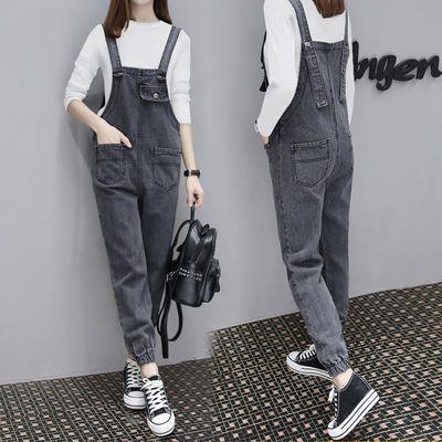单件/套装 秋季宽松牛仔背带裤女韩版学生显瘦吊带连体裤两件套装