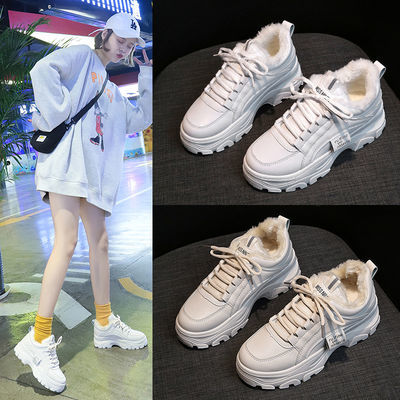 2020春新款加绒老爹鞋女冬季保暖百搭棉鞋韩版学生运动鞋厚底增高