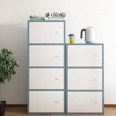简易储物柜带门简约现代书柜自由组合格子柜经济型书架家具置物柜