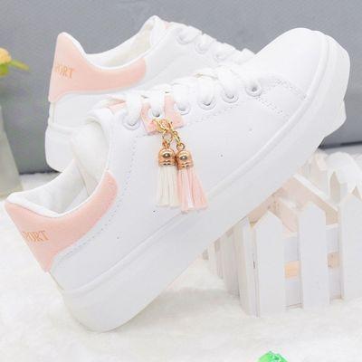女童小白鞋2019新款大童女休闲运动鞋学生春秋款平底板鞋透气单鞋