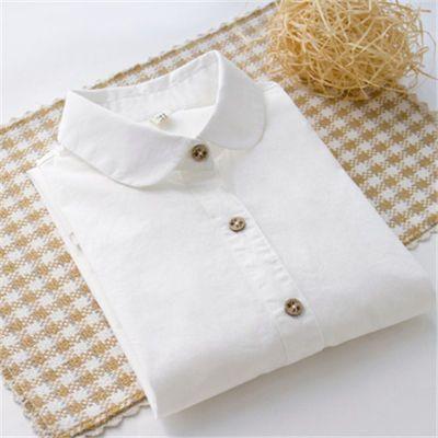 纯棉长袖短袖白衬衫修身百搭打底女式职业装衬衣花纽扣日系小清新