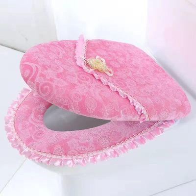 冬季马桶坐垫两件套带盖通用加厚坐便垫羊绒拉链马桶垫