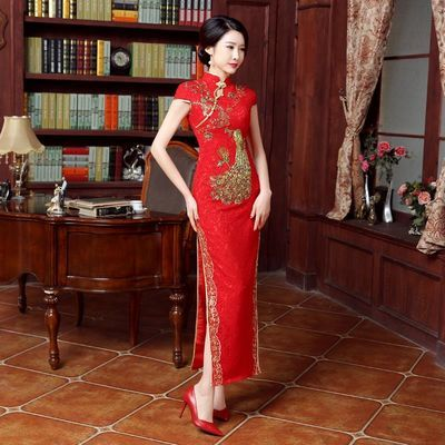 丝坊旗阁新款红色礼服蕾丝长款旗袍改良显瘦旗袍裙新娘结婚敬酒服【3月15日发完】