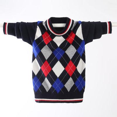 儿童毛衣男童羊绒衫秋冬新款加厚圆领套头针织衫儿童毛衣中大童