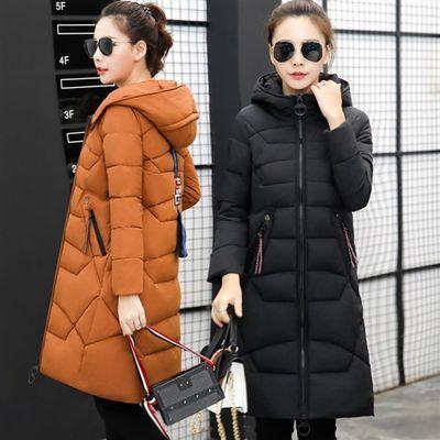 修身长袖中长款2018年冬季棉衣/棉服拉链连帽涤纶纯色