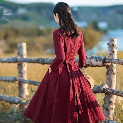 红念棉麻连衣裙超仙春装2019新款女中长款很仙的法国小众连衣裙