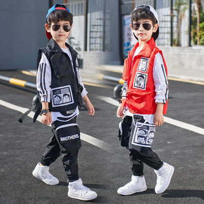 童装男童春款套装2020新款儿童韩版宽松中大童洋气时尚马甲三件套