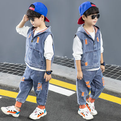 童装男童秋装套装2020新款儿童帅气男孩春秋款洋气牛仔三件套潮衣