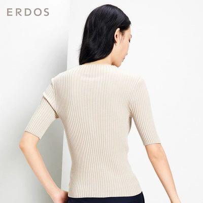 ERDOS 轻薄圆领桑蚕丝抽条短袖女士针织衫修身百搭T恤