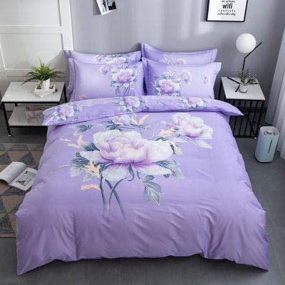 高档纯棉四件套100%全棉斜纹4件套网红床单被套双人婚庆床上用品
