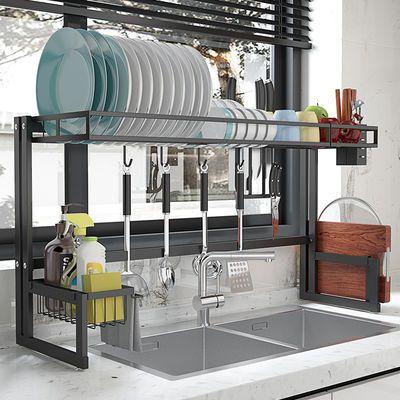 厨房置物架水槽上方沥水架碗碟架刀架家用碗筷不锈钢收纳架滤水架