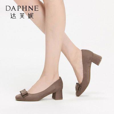 SHOEBOX/鞋柜春秋方头绒面时尚蝴蝶结粗跟单鞋中跟女鞋
