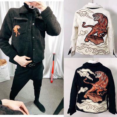网红同款夹克加棉外套社会精神小伙修身上衣学生冬季情侣棉衣服潮男