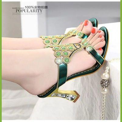 凉拖鞋女高跟水钻粗跟凉鞋2020夏季新款欧美一字带时尚性感镶钻鞋