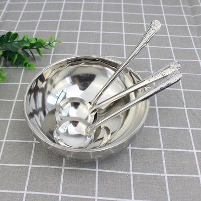 不锈钢长柄圆勺子喝粥勺喝汤勺圆形油勺调羹圆勺搅拌勺家用勺子