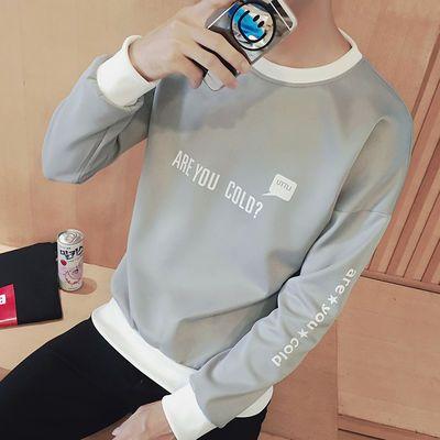 秋季卫衣男士长袖t恤黑色圆领韩版套头薄款学生潮流男装外套上衣