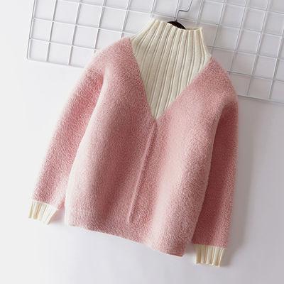 女童保暖新款毛衣儿童打底衫仿水貂绒冬装上衣中大童洋气针织衫潮