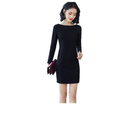 黑色高腰连衣裙女秋冬季新款职业韩版修身显瘦时尚气质OL长袖裙子