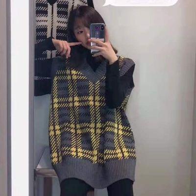 正品韩版学院风胖妹妹女装毛衣马甲 加大加厚格子间色毛衣背心89#