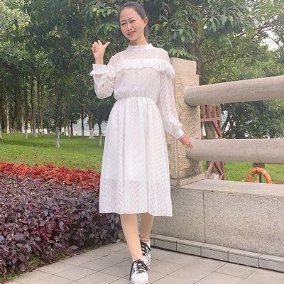 小清新圆领连衣裙春季2020最新款淑女修身显瘦花边仙女范中长款女