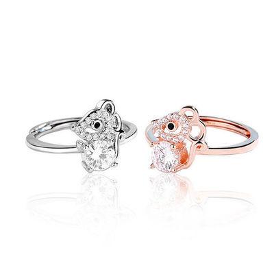 2020本命年老鼠戒指女时尚镶钻食指戒鼠饰品生肖鼠年手饰开口指环