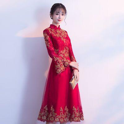 中式敬酒服新娘2019新款春款结婚红色冬显瘦现代答谢宴礼服女【2月28日发完】