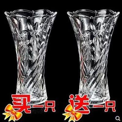 玻璃花瓶加厚客厅插花摆件水培富贵竹百合花瓶欧式大号透明花器