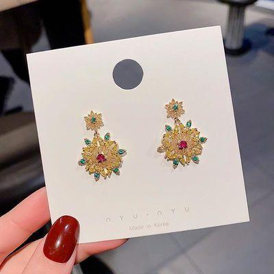 925银针时尚复古微镶耳坠女韩国气质网红耳饰百搭长款巴洛克耳环
