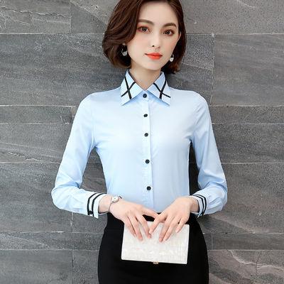 白衬衫女短袖修身显瘦职业正装韩版大码长袖工作服百搭女士打底衫