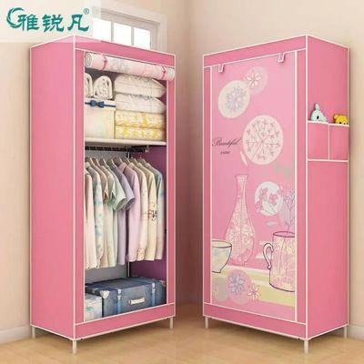 单人简易衣柜收纳柜布衣橱钢架加固时尚创意组合整理柜防尘简约