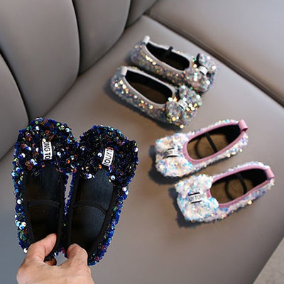 女童皮鞋2019春秋季儿童韩版新款平底单鞋蝴蝶结亮片软底公主鞋潮