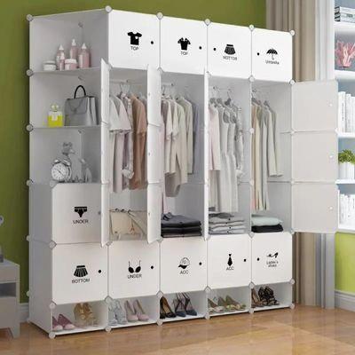 简易衣柜收纳架塑料布推拉门双人实木钢管加粗加固新款卧室家具柜