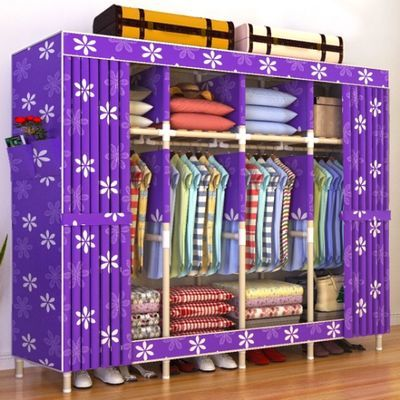 简易布衣柜实木加粗加固非钢管牛津布艺衣橱带拉链组装双人收纳架