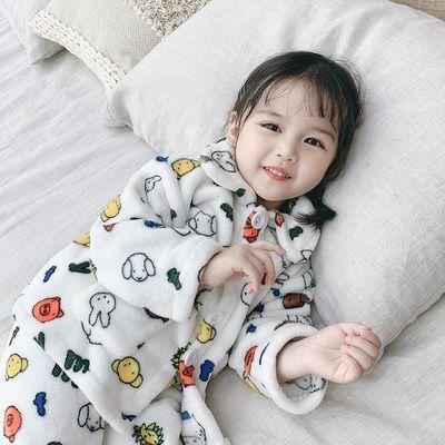 萌橙宝贝 儿童法兰绒睡衣套装1-3-5岁婴儿女童女宝宝珊瑚绒家居服