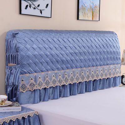 绒面全包加棉床头罩欧式软包布艺皮床头靠背防尘罩实木床头套纯色
