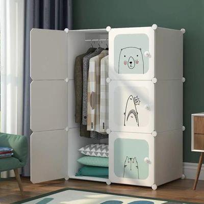 优旭简易衣柜收纳架实木塑料布单人组装不锈钢挂衣橱储物箱柜子
