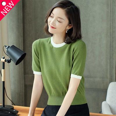 早春季薄款毛衣女短袖针织衫2020早秋新款韩版时尚短款打底上衣潮