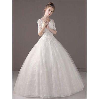 婚纱礼服2019新款新娘法式V领显瘦蕾丝婚纱超仙出门纱简约齐地婚【3月1日发完】