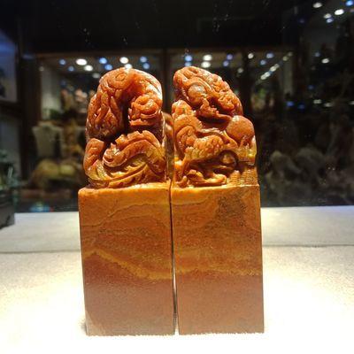 寿山石老挝石2.5cm方章情侣对章篆刻印章结婚送礼自用