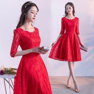 敬酒服新娘2019新款时尚短款中袖红色显瘦结婚回门小晚礼服女【3月1日发完】