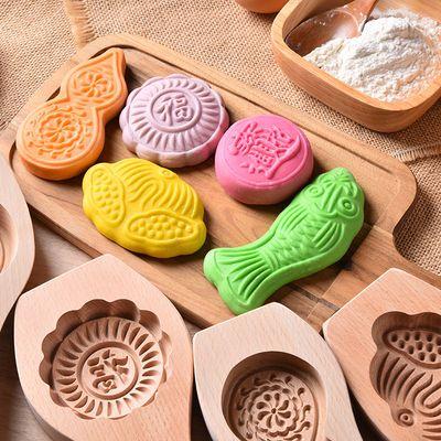 面食馒头绿豆糕南瓜饼月饼喜饽饽艾糍粑青团年糕稞印烘焙模具木制