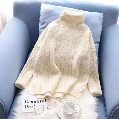 高领毛衣女新款洋气宽松短款套头百搭韩版秋冬装保暖打底针织衫厚