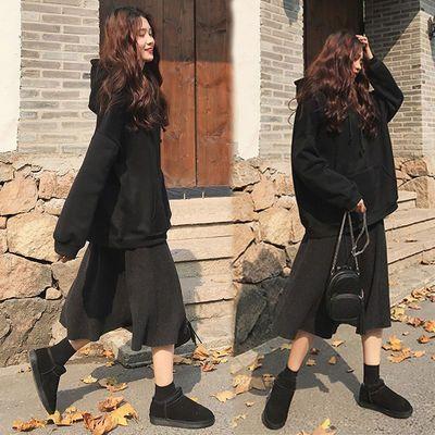 大码女装200斤胖mm秋冬洋气套装裙加厚加绒卫衣配半身裙两件套女