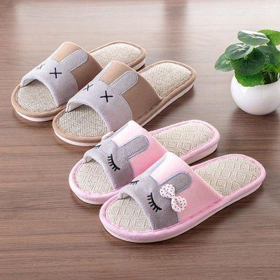 亚麻棉拖鞋男女士情侣家居家用春夏秋冬季卧室内地板四季防滑厚底