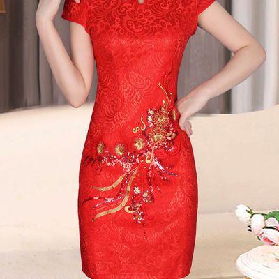 大红色旗袍裙刺绣新娘结婚中式礼服短款迎宾庆典聚会敬酒服连衣裙【3月1日发完】