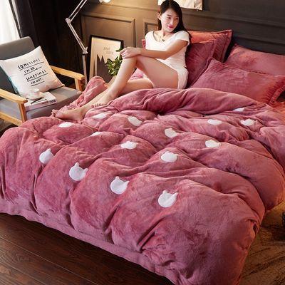 床上用品冬季加厚珊瑚绒四件套双面绒加绒被套法兰绒卡通保暖4件【3月14日发完】