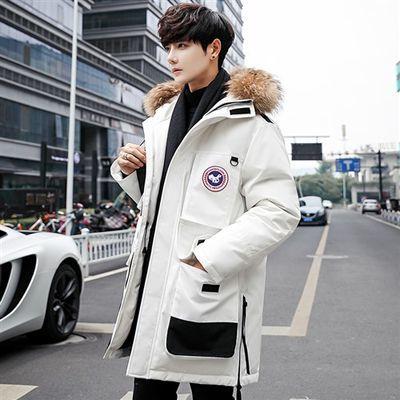 中长款加厚大毛领连帽外套冬季2019韩版新款羽绒服男装MY81