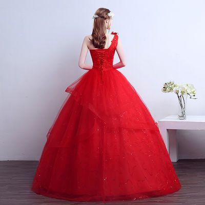 红色婚纱礼服新娘婚纱2020新款修身大码显瘦修身婚纱裙新娘一字肩【3月1日发完】